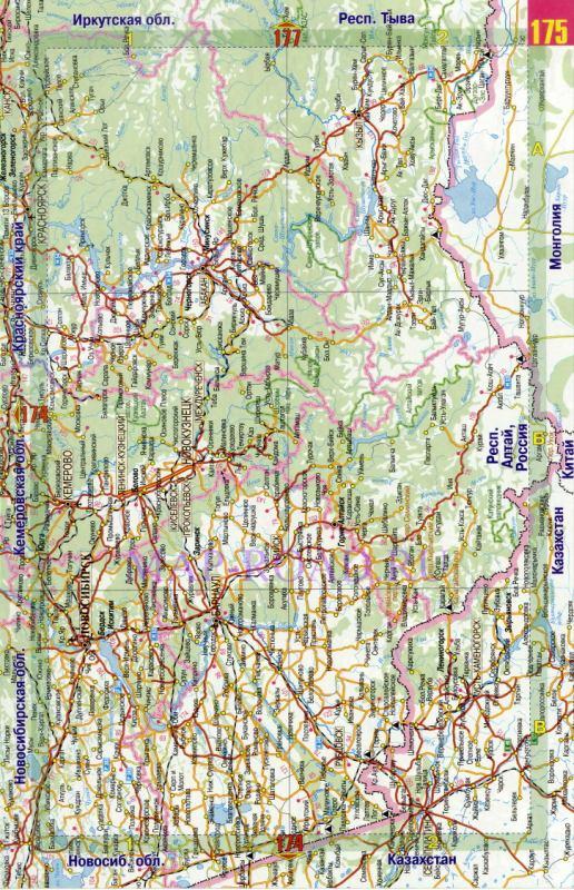 Карта дорог Алтайского края.