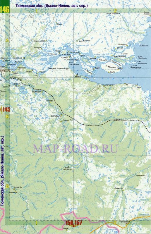 Подробная карта дорог ЯНАО