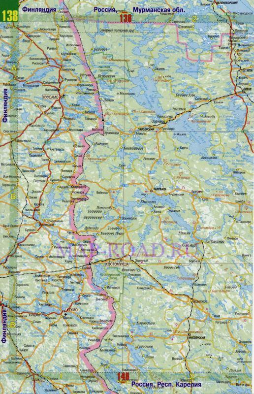 Карта дорог Карелии. Подробная