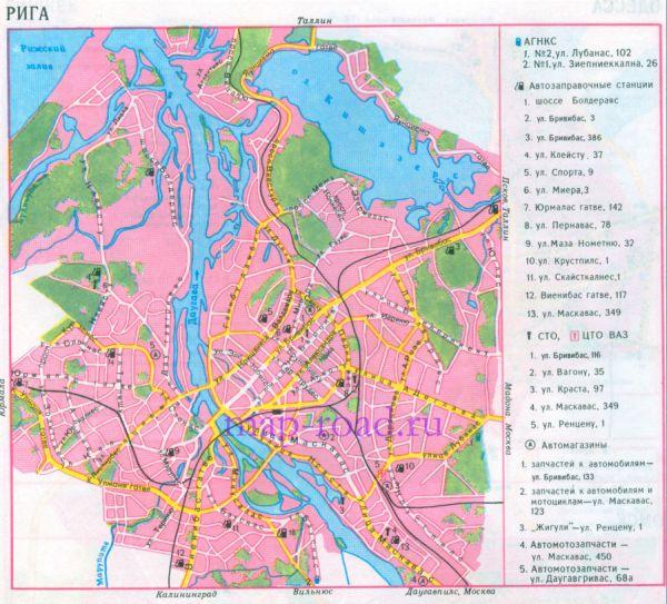 Карта Риги - схема проезда.