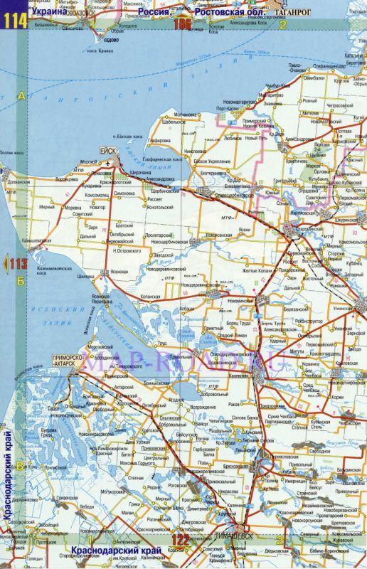 Карта Краснодарского и Ставропольского краев. .  Административная карта юга России.