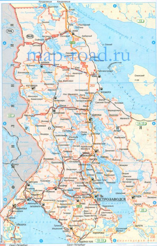 Карта дорог Карелии. Карта