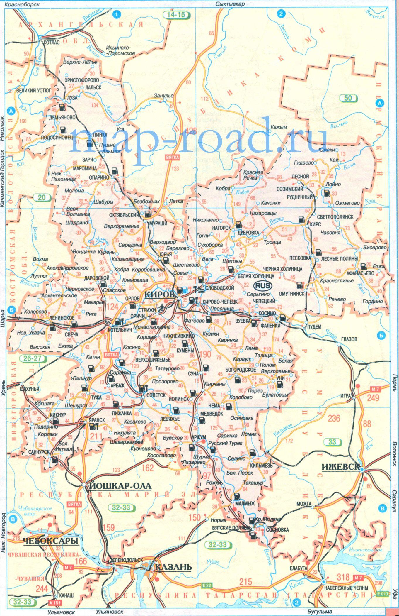 места для рыбалки в кировской области карта