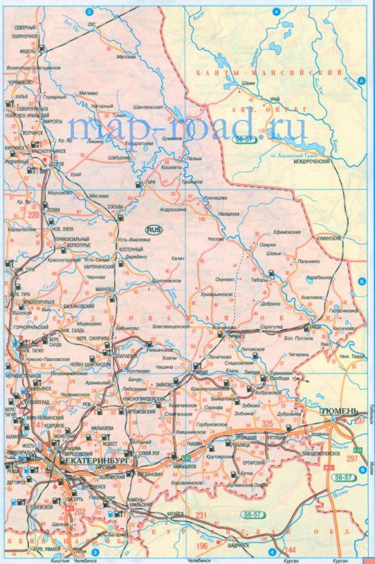 Карта дорог Свердловской
