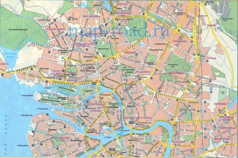 карта Санкт-Петербурга.